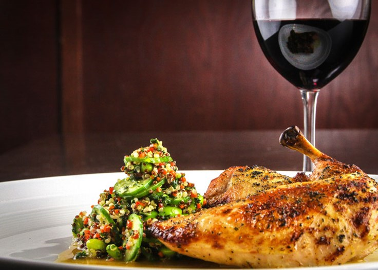 chicken dish and red wine