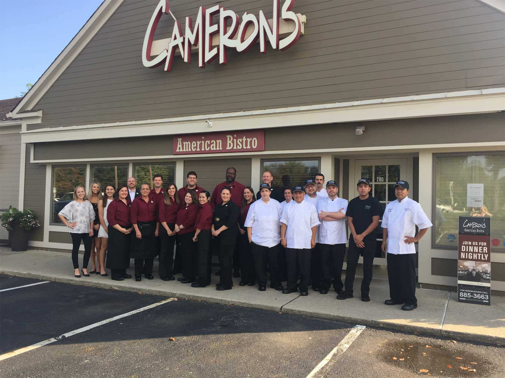 A photograph of Cameron's American Bistro staff.