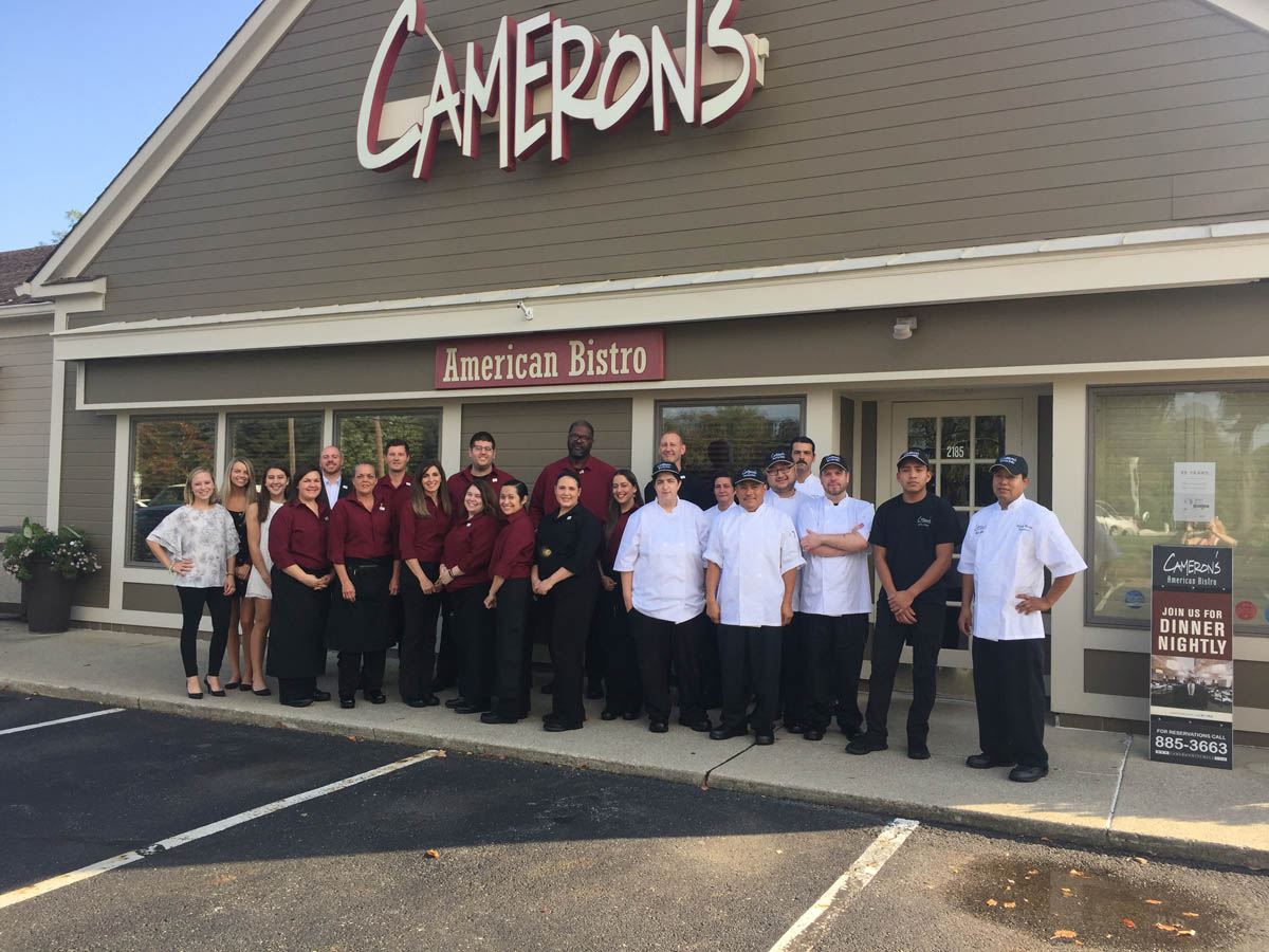 Cameron's American Bistro staff outside in front of restaurant